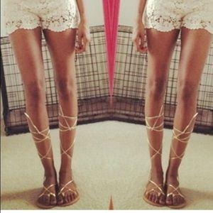 Gold Lace Up Sandals, Size 9